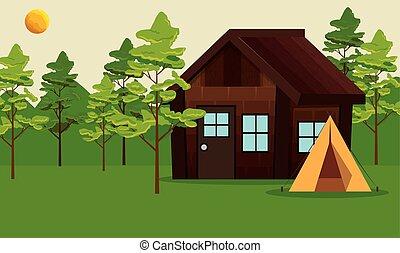 cabine, kamp, landscape, bomen, natuur