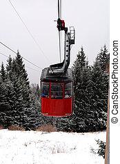 cabine montanha, carro cabo, neve, árvores pinho, fundo, vermelho