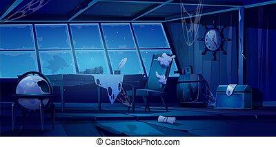 cabine, nuit, abandonnés, vieux, bateau, pirate, vide