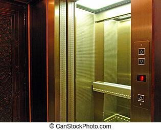 cabine, passager, ascenseur