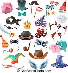cabine, photo, ensemble, icônes, fête