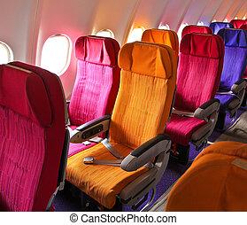 cabine, vliegtuig, zetels