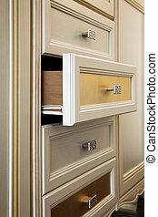 cabinet, à, tiroirs