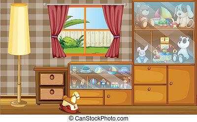 cabinet, entiers, jouets