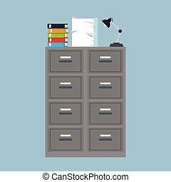 cabinet folder file binder lamp pile document