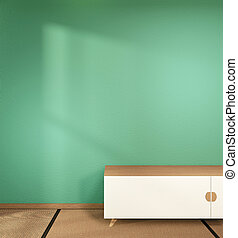 cabinet in japanese living room on white wall background,3d rendering