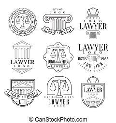 cabinet juridique, et, avocat, bureau, logo, gabarits, à, classique, ionique, piliers, pediments, et, équilibre, silhouettes