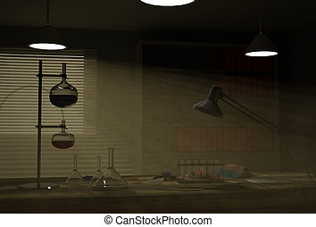 Cabinet of chemist interior. 3d render.