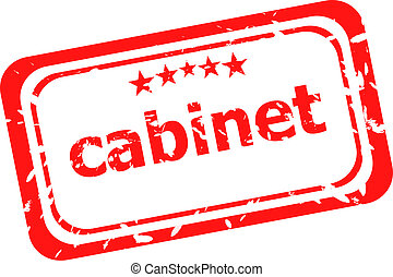 cabinet on red rubber stamp over a white background
