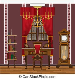 cabinet or living room interior with large window, red wallpaper and large clock