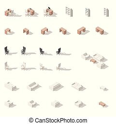 Cabinet or workplace low poly isometric icon set