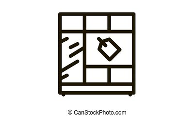 cabinet sell Icon Animation. black cabinet sell animated icon on white background