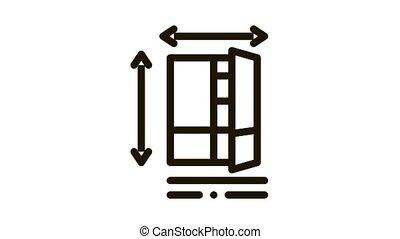 cabinet size Icon Animation. black cabinet size animated icon on white background