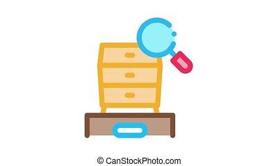 cabinet size Icon Animation. color cabinet size animated icon on white background