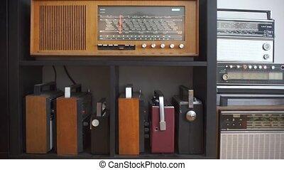 cabinet, vieux, étagère, compiled, radios