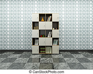Cabinet with books