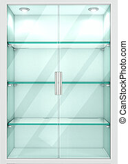 Cabinet with empty glass shelves. 3d illustration