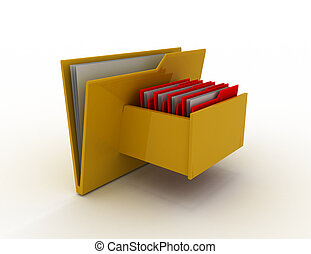 Cabinet with file folder . 3d rendered illustration