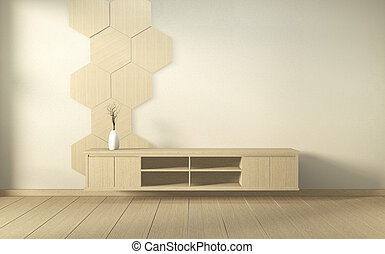 Cabinet wooden in modern living room japan style on white wall background,3d rendering