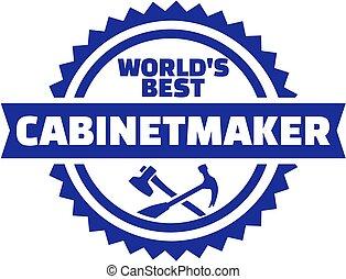 cabinetmaker, emblema, mundo, melhor