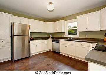 cabinets., classico, vernice verde, interno, bianco, cucina