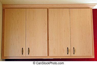 cabinets, lumière, deux, coutume, bois, construire, cuisine