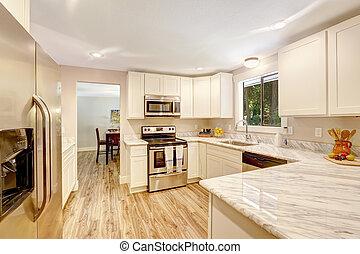 cabinets., refrescante, cocina, interior, blanco