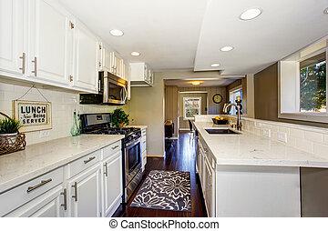 cabinets, salle, plancher, bois dur, classique, américain, blanc, cuisine