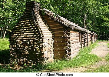 Cabins in the woods in Jockey Hollow, NJ