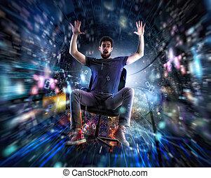 cable., γενική ιδέα , δίκτυο , γραφείο , γρήγορα , σύνδεση , internet , πηγαίνω , καρέκλα , άντραs