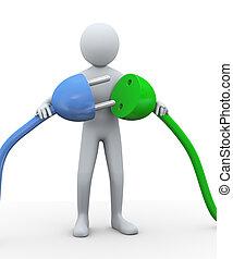 cable., 3d, de conexión, eléctrico, hombre