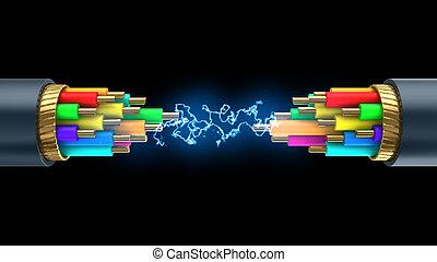 cable break energy - 3d illustration of coil flash inside...