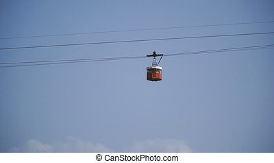 Cable car. Against the sky cableway