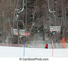Cable car at a ski resort.