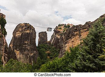 Cable car between monasteries Meteora
