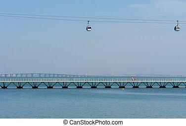 Cable car, Bridge Vasco da Gama and footbridge