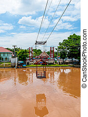 Cable Car cross the river at bang-pa-in district,ayuthaya province,Thailand
