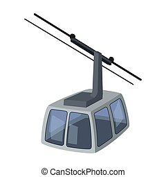 Cable car. Funicular for climbing in the mountains. Holiday winter transport.Transport single icon in cartoon style vector symbol stock illustration.