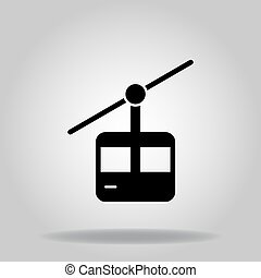 cable car icon or logo in  glyph
