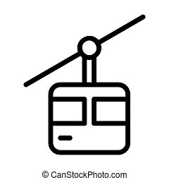 cable car icon or logo in  outline