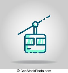 cable car icon or logo in  twotone