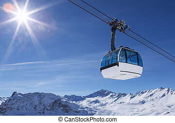 cable car in a mountain area