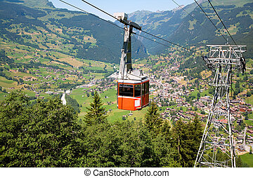 Cable Car in Grindelwald, Bern Canton, Switzerland - This is...