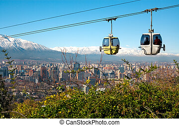 Cable car in San Cristobal hill, overlooking a panoramic...