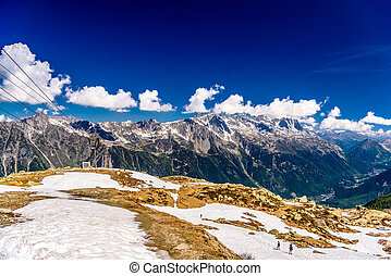 Cable car in snowy mountains, Chamonix, Mont Blanc,...