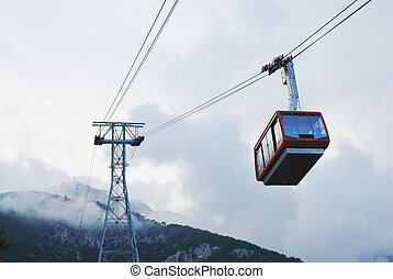 Cable car in Tahtali, Antalya, Turkey