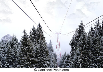 Cable car in the Carpathian mountains on winter time