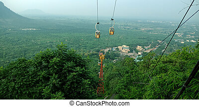 Cable car in the mountains.