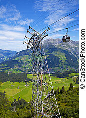 Cable car in the village of Engelberg, Switzerland
