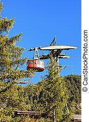 Cable car in Zermatt highland